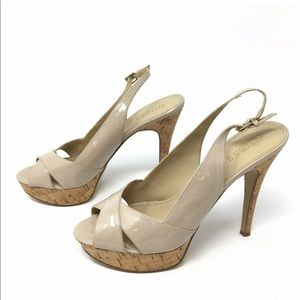 Guess nude patent leather slingback heels 8.5